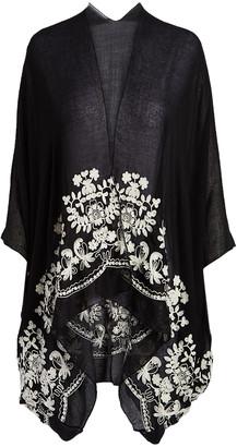 Raj Imports Women's Kimono Cardigans BLACK - Black & White Embroidered Kimono - Women