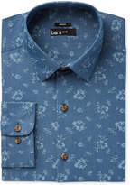 Bar III Men's Slim-Fit Stretch Easy Care Denim Wild Flower Print Dress Shirt, Created for Macy's