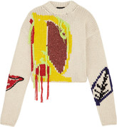 Joseph Abstract Appliquéd Fringed Intarsia Wool Sweater - Cream
