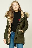 Forever 21 Longline Leopard Parka Jacket