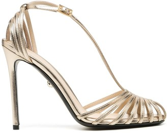 ALEVÌ Milano Heeled Leather Metallic Sandals
