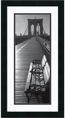 Amanti Art Brooklyn Bridge Benches Framed Art Print