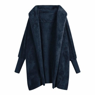 Hulky Coats & Jackets HULKY Womens Winter Open Front Loose Hooded Fleece Sherpa Jacket Cardigan Coat Casual Oversized Warm Plush Jacket(Navy M)