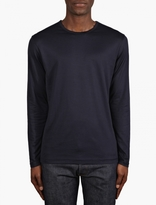 Sunspel Navy Long Sleeve Crew Neck T-shirt