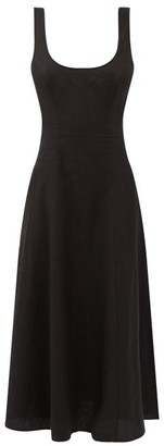 Zimmermann Lulu Cutout-back Linen Midi Dress - Black