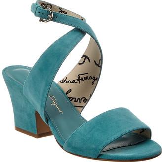 Salvatore Ferragamo Sheena Ankle Strap Suede Sandal