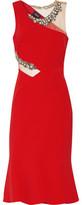 Marchesa Embellished Tulle-Trimmed Crepe Dress