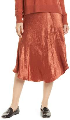 Vince Bias Cut Crinkled Satin Midi Skirt