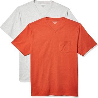 Amazon Essentials Men's 2-Pack Loose-Fit Short-Sleeve V-Neck Pocket T-Shirt
