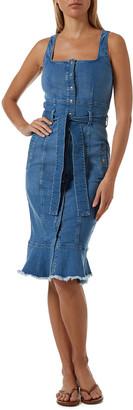 Melissa Odabash Ruby Frayed Denim Button-Front Bodycon Dress