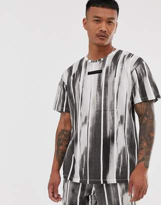 Religion loose fit two-piece t-shirt with brushed stripe print in black