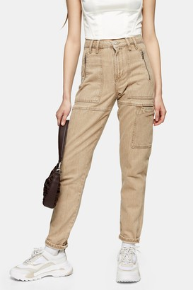 Topshop Womens Sand Worker Mom Tapered Jeans - Sand