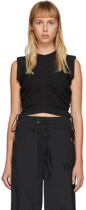 Alexander Wang Black High Twist Side Tie Tank Top