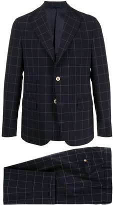 Eleventy single breasted window pane check suit