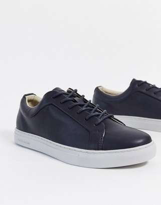 Jack and Jones faux leather sneaker in navy
