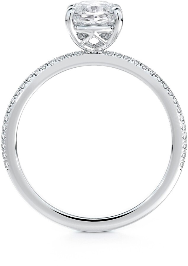 Thumbnail for your product : Forevermark Delicate Icon(TM) Setting Cushion Diamond Engagement Ring with Diamond Band