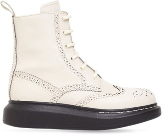 Alexander McQueen 40mm Hybrid Brogue Leather Lace-Up Boots