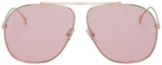 Fendi Pink and Gold Aviator Logo Sunglasses