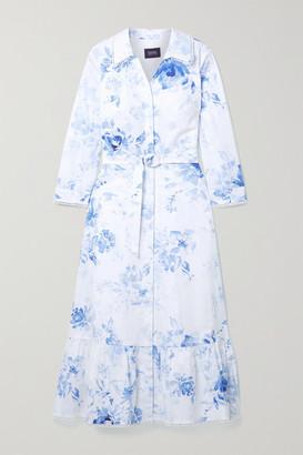 Marchesa Notte Belted Floral-print Cotton-blend Poplin Shirt Dress - White