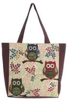 Forest Owls Cotton Blend Tote Bag in White and Brown (Large), 'Playful Owls'
