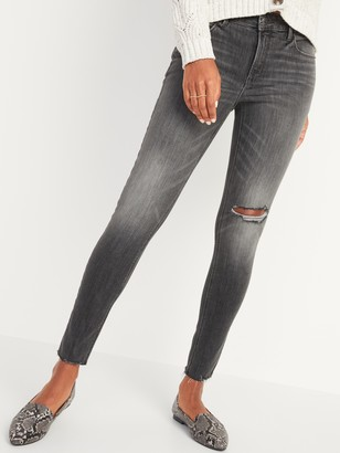 Old Navy Mid-Rise Rockstar Super Skinny Ripped Gray Cut-Off Jeans for Women