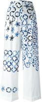 Ports 1961 painted effect floral print wide leg trousers - women - Cotton - 40