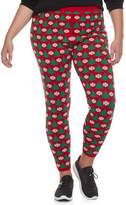 It's Our Time Juniors' Plus Size Print Holiday Leggings