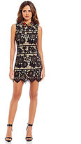 Gianni Bini Collier Collar Neck Lace Shift Dress
