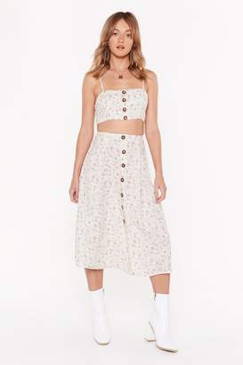 Nasty Gal Womens The Perfect Match Floral Crop Top and Midi Skirt Set - white - 14