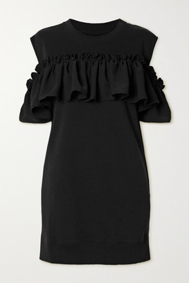 MM6 MAISON MARGIELA Cold-shoulder Ruffled Cotton-blend Jersey Dress - Black