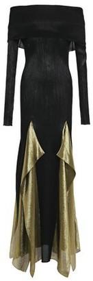Roland Mouret Off-the-shoulder Draped Plisse Silk-blend Gown