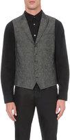 John Varvatos Slim-fit Linen-blend Waistcoat