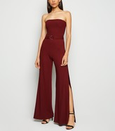 New Look Ribbed Belted Split Strapless Jumpsuit
