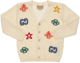 Gucci Cotton Knit Cardigan W/ Intarsia