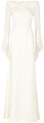 Roland Mouret Hafren ivory lace-trimmed gown