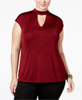 INC International Concepts Plus Size Mock-Neck Keyhole Top, Only at Macy's