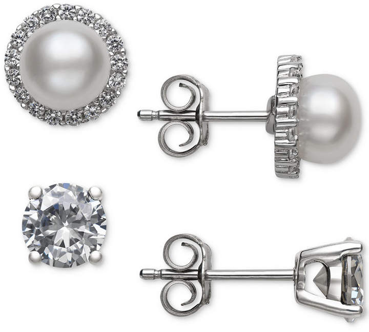 Belle de Mer 2-Pc. Set Cultured Freshwater Pearl (6mm) and Cubic Zirconia Stud Earrings in Sterling Silver, Created for Macy's