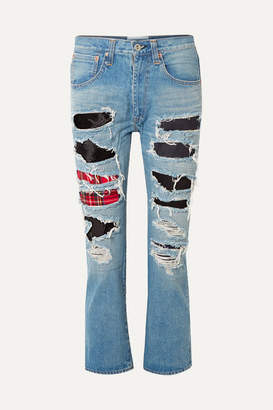 Junya Watanabe Patchwork Distressed High-rise Straight-leg Jeans - Blue