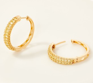 Affinity Diamond Jewelry Affinity 14K Gold Natural Yellow Diamond Hoop Earrings, 1.00cttw