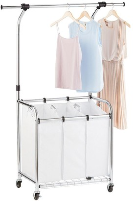 Container Store Chrome 3-Bin Premium Rolling Laundry Center with Wheels