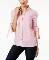 MICHAEL Michael Kors Striped Roll-Tab Blouse