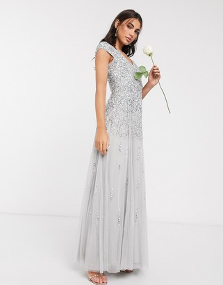 Beauut embellished maxi dress in light grey