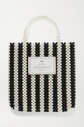 Anya Hindmarch Leather-trimmed Beaded Tote - White