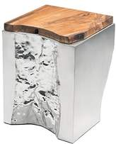 ZUO Luxe Side Table Natural and Stainless Steel