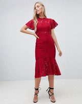 Forever New midi lace dress with frill sleeve in berry