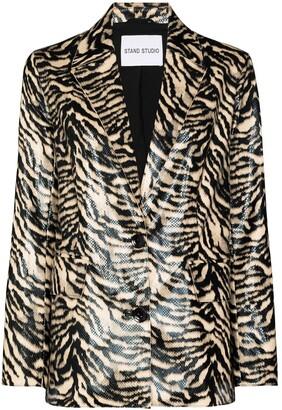 Stand Studio Catherine zebra-print blazer