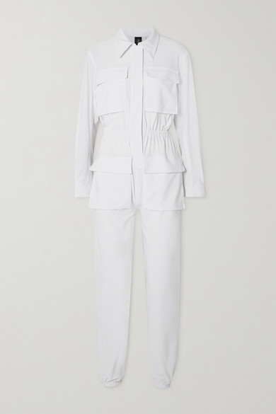 Thumbnail for your product : Norma Kamali Cargo Jog Stretch-jersey Jumpsuit - White