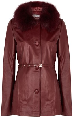 Saks Potts Cholet fur-trimmed leather jacket