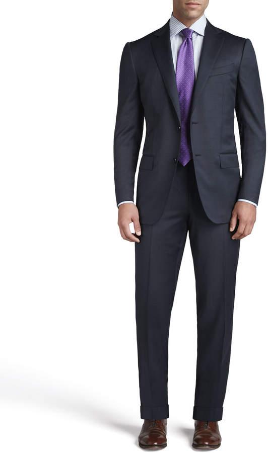 Ermenegildo Zegna Tic Woven Two-Button Suit, Navy
