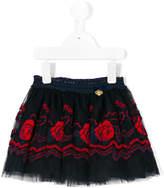 Miss Blumarine rose embroidered skirt